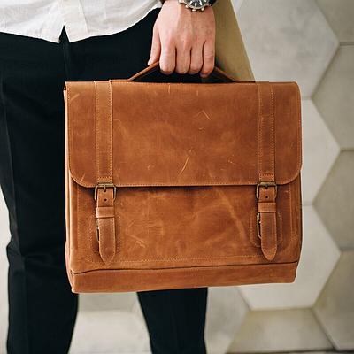 Мужская сумка из натуральной кожи коньячного цвета. Мужская сумка для ноутбука. Чоловіча сумка