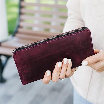 Женское портмоне из натуральной кожи бордового цвета. Жіноче портмоне. Женское портмоне.