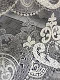 Фатиновая тюль з красивим прошитим низом і ніжною серединою в спальню або госинную. Колір: Сірий, фото 4