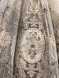 Тюль фатин сетка с большим купоном по середине для гостинной Цвет: золотистый, фото 3