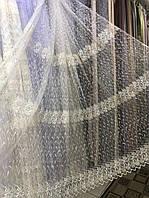 Тюль в 4 ряда вышивки для кухни, спальни на основе фатиновой сетки. Цвет: Молочный с золотом