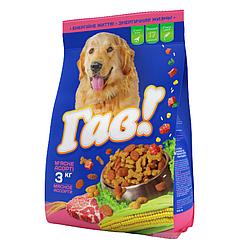 Корм Гав М'яка ясне асорті повнораціонний для дорослих собак всіх порід 3 кг