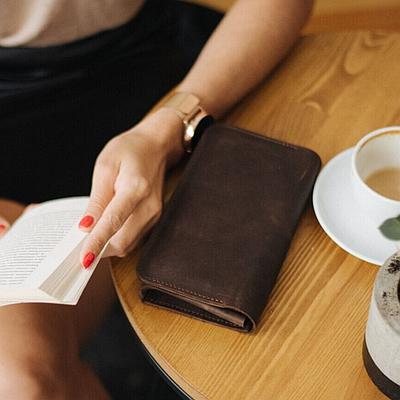 Женское портмоне из натуральной кожи коричневого цвета. Жіноче портмоне. Женское портмоне. Женский кошелек