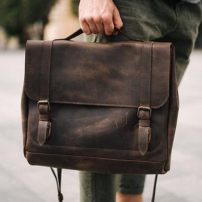 Мужская сумка из натуральной кожи коричневого цвета. Мужская сумка для ноутбука. Чоловіча сумка