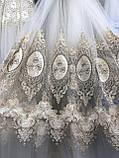 Фатиновая тюль для гостинных и спален. Бархатная вышивка Цвет: Золотистый, фото 2
