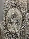 Фатиновая тюль для гостинных и спален. Бархатная вышивка Цвет: Золотистый, фото 4