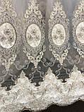 Фатиновая тюль для гостинных и спален. Бархатная вышивка Цвет: Золотистый, фото 5