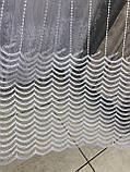 Тюль в 4 ряди вишивки для кухні, спальні на основі фатиновой сітки. Колір: Білий, фото 2