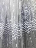 Тюль в 4 ряди вишивки для кухні, спальні на основі фатиновой сітки. Колір: Білий, фото 4