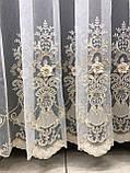 Тюль на основе бамбука с 3Д цветами, бархатом и жемчуженами.  Цвет: молочный, фото 8