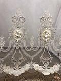 Тюль фатин сетка с большим купоном по середине для гостинной. Цвет: золотистый, фото 7