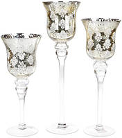 Набор 3 стеклянных подсвечника Claudine 30см, 35см, 40см, серебро