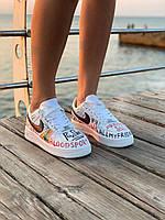 Кольорові кросівки Nike Air Force Graffiti. Жіночі різнокольорові кросівки Найк Аір Форс Графіті літні