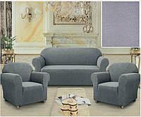 Комплект чехлов диван и два кресла квадратик серый.