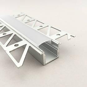 Светодиодный профиль для гипсокартона врезной 57(17х16)х14,5 мм (3 метра) с матовой крышкой