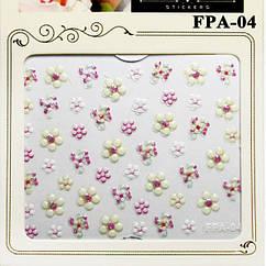 Наклейки для Ногтей Самоклеющиеся 3D Nail Sticrer FPA-04 Цветы Пастельно Белые, Розовые, Декор Ногтей Маникюр