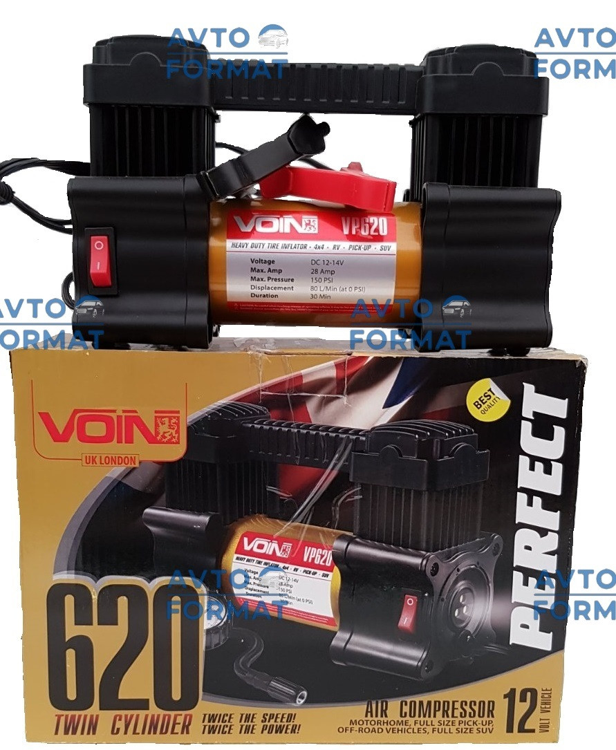 Компресор автомобільний VOIN 28 Amp, 80л (клеми) 2-ух поршневий