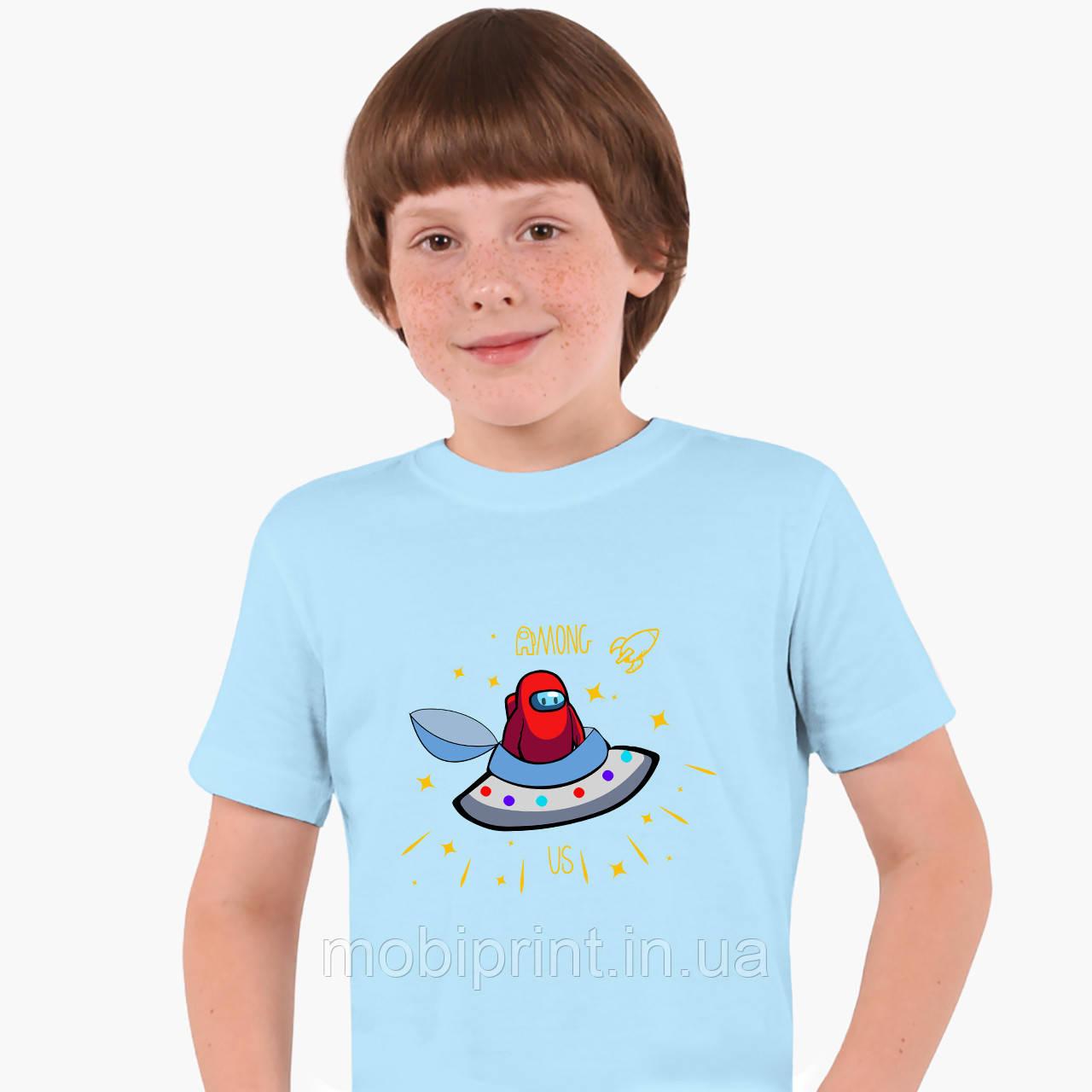 Дитяча футболка для хлопчиків Амонг Червоний Ас (Among Us Red) (25186-2583) Блакитний