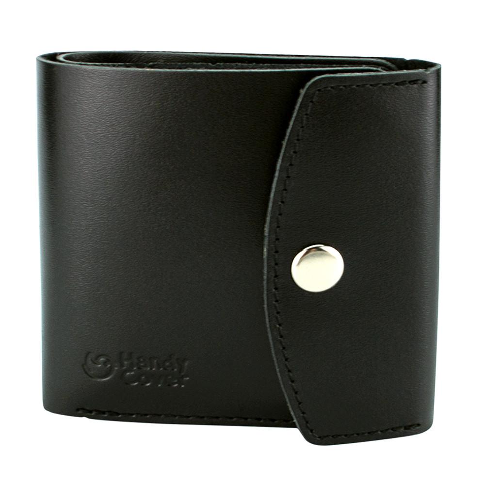 Гаманець жіночий шкіряний маленький на кнопці Handycover HC0062 чорний