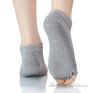 Шкарпетки для йоги нековзні Yoga, 36-38р, відкриті пальці, фото 3
