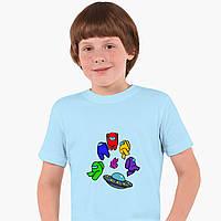 Детская футболка для мальчиков Амонг Ас (Among Us) (25186-2585) Голубой, фото 1