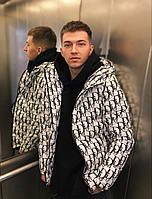 Мужская куртка демисезонная с капюшоном Dior белая (реплика)