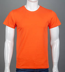 Футболка однотонная стретч 4шт (M-XXL) полноразмер (0Г00), Оранжевый