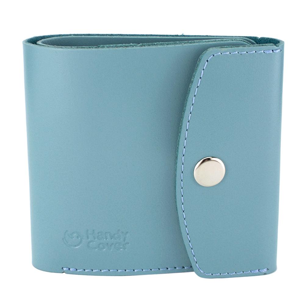 Гаманець жіночий шкіряний маленький на кнопці Handycover HC0062 блакитний
