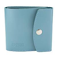 Гаманець жіночий шкіряний маленький на кнопці Handycover HC0062 блакитний, фото 1