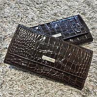 Коричневый кожаный женский кошелек под змею Karya
