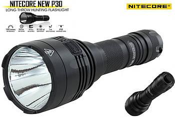 Дальнобойный Ручной тактический фонарь NITECORE P30 NEW (1000LM, Cree XP-L HI V3, IPX8, +Чехол и Клипса)