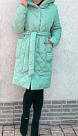 Пальто плащ пуховик женское стеганое на синтепоне осень зима