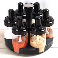 Набор емкостей баночек для специй на вращающейся подставке карусель 6 шт Spice rotating bottles JM-620 черный