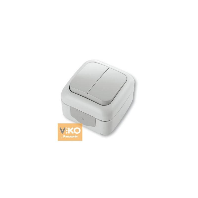 Вимикач вологозахисний двоклавішний VIKO Palmiye - Білий
