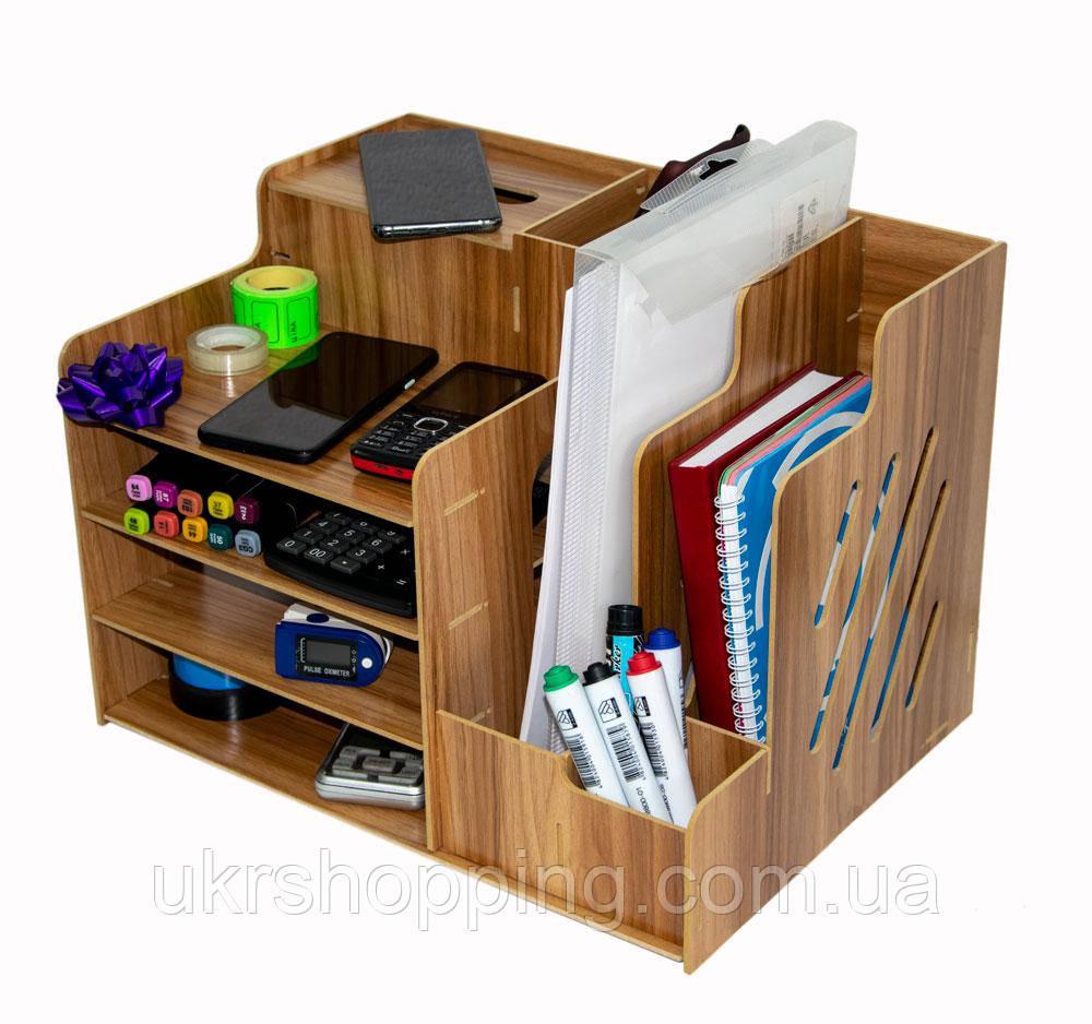Деревянный настольный органайзер 39*29*28 см. офисный, канцелярский | подставка для документов (SH)