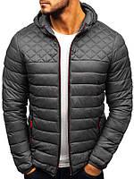 Куртка мужская весенняя осенняя до 0*С серая демисезонная | куртка на синтепоне стеганая ветровка утепленная