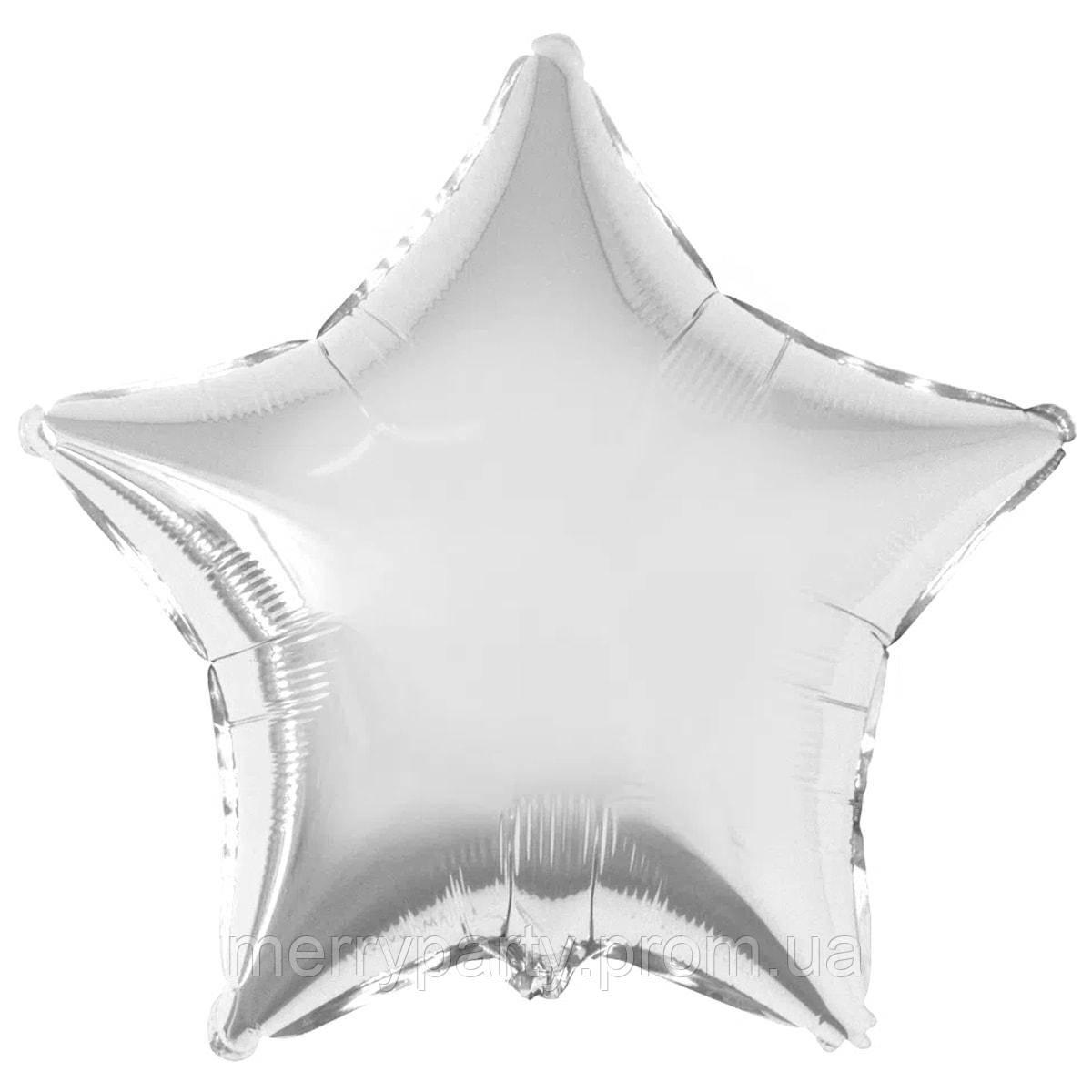 """18"""" (45 см) Звезда металлик серебро Flexmetal Испания шар фольгированный"""