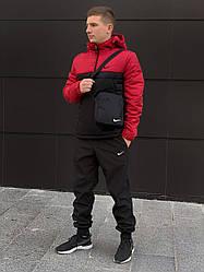 Ветровка Анорак Найк, Nike красно- черный + Штаны President  + подарок Барсетка