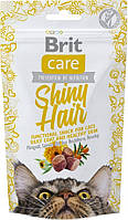Brit Care Shiny Hair Functional Snack Лакомство для поддержания красоты шерсти у кошек 50 г