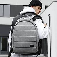 Городской стильный качественный рюкзак из искусственной кожи серый, рюкзак молодежный кожзам