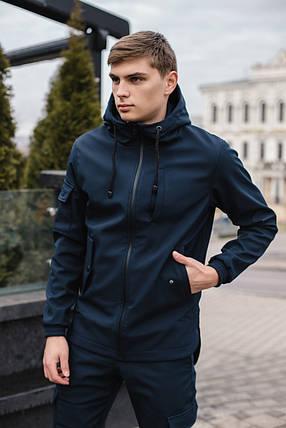Мужская куртка Softshell синяя демисезонная Intruder. + Брендовая Ключница в подарок, фото 2