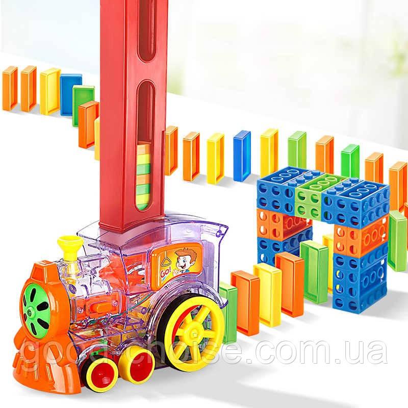 Детская игрушка паровозик с домино DOMINO Happy Truck 100 деталей / Поезд домино