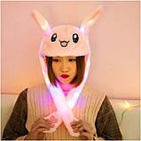 Шапка Заяц кигуруми светящиеся и двигающиеся ушки, кигуруми шапка Зайка светящиеся и движущие уши / Kig - 0204, фото 2