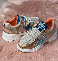 Женские кроссовки разноцветные, эко-кожа, текстиль, сетка, Весна/Осень, повседневные, стильные, модные