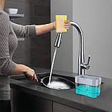 Органайзер для мочалок с мыльницей и дозатором нажимная Soap Pump, фото 3