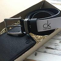 Подарочный набор для мужчины кошелек + ремень Calvin Klein Келвин Кляйн