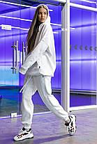 Костюм женский спортивный зимний на флисе Oversize белый осенний весенний, фото 2