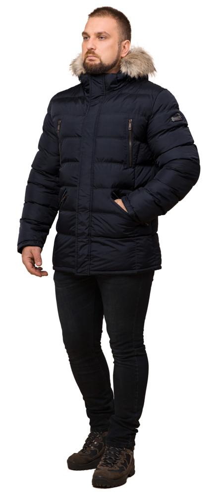 Куртка мужская зимняя темно-синяя большого размера модель 23752 (ОСТАЛСЯ ТОЛЬКО 60(5XL))