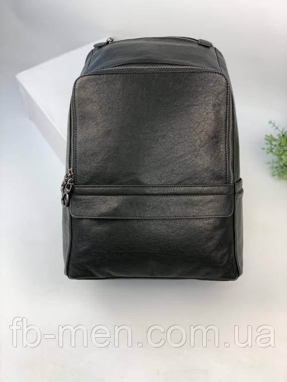 Рюкзак из дубленой кожи черного цвета   Мужской кожаный рюкзак портфель черного цвета вместительный
