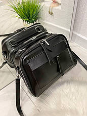 Женская сумка Grey черная СГФ56, фото 2